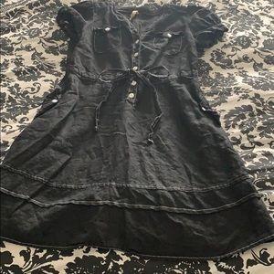 Anthropologie Black Linen Button Dress
